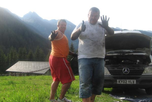 Replacing turbocharger in Swiss Alps 2009